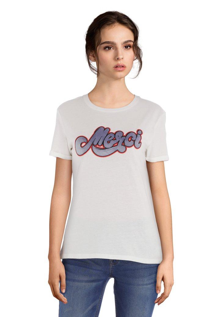 Wit T-shirt met opschrift in fluweel