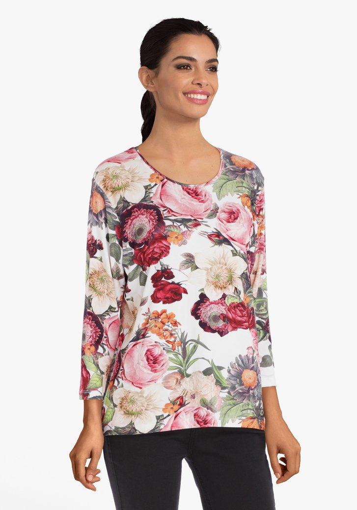 Wit T-shirt met roze bloemen