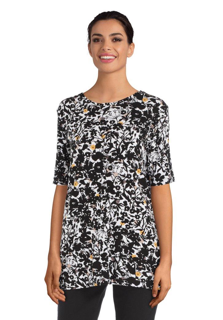 Wit T-shirt met zwarte bloemenprint