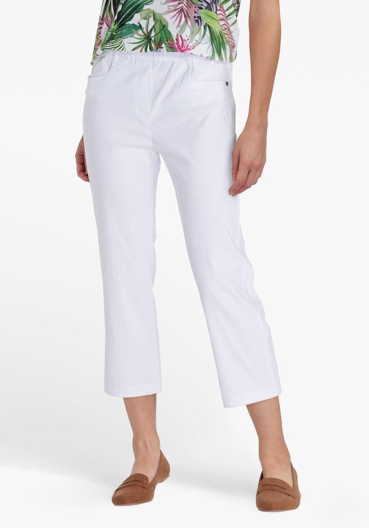 Witte 7/8 broek met elastische tailleband