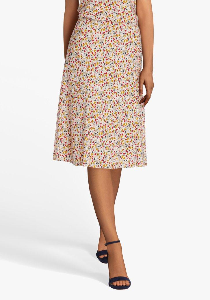 Witte A-lijn rok met gekleurde print