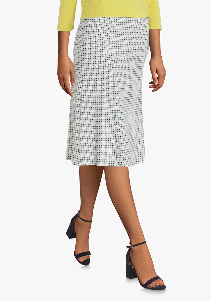Witte A-lijn rok met kleurrijk motief