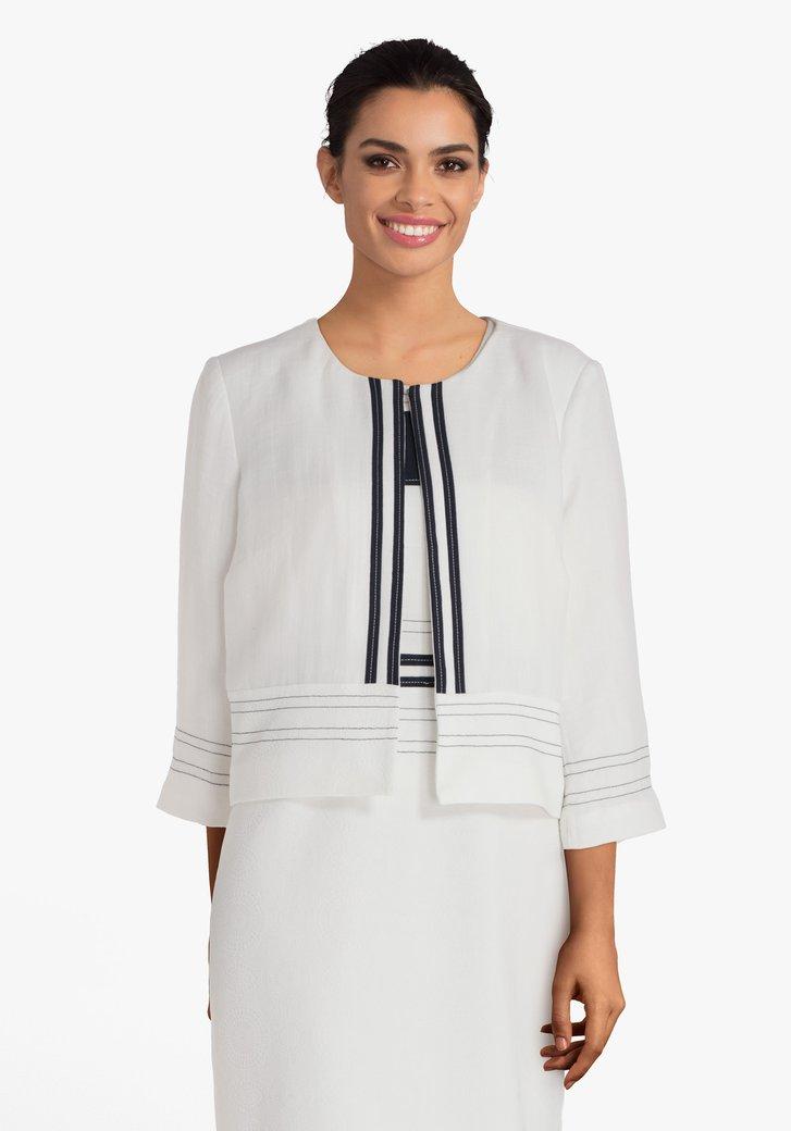 Witte blazer met navy gestreepte details