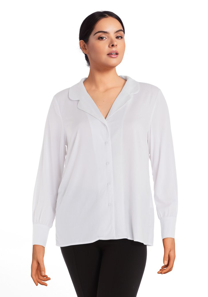 Witte blouse in viscose retro