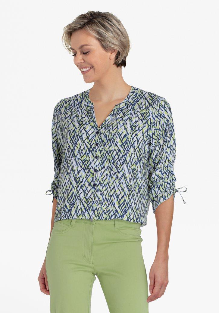 Witte blouse met blauw-groene print