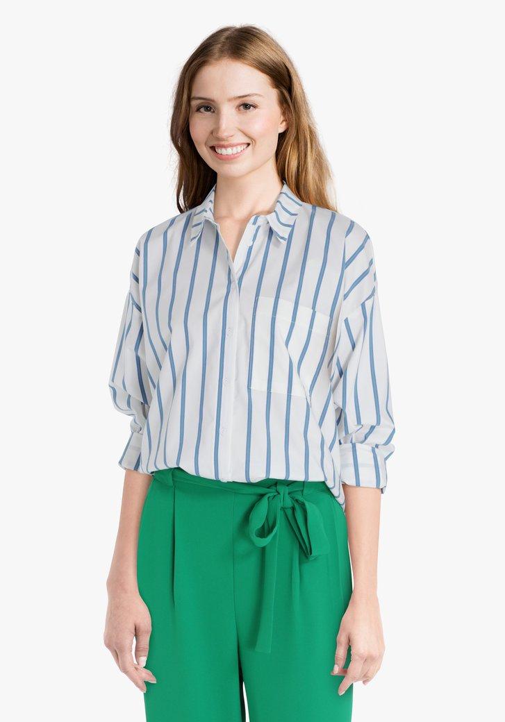 Witte blouse met blauw-groene strepen