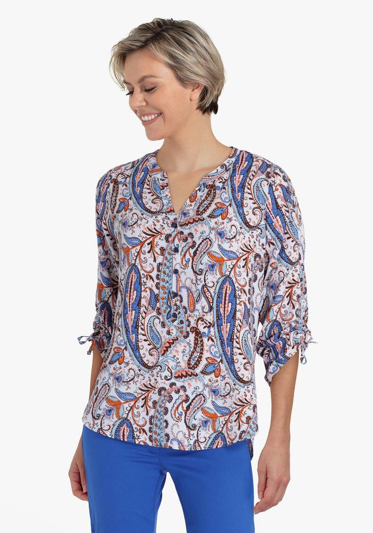 Witte blouse met blauw-oranje paisley print