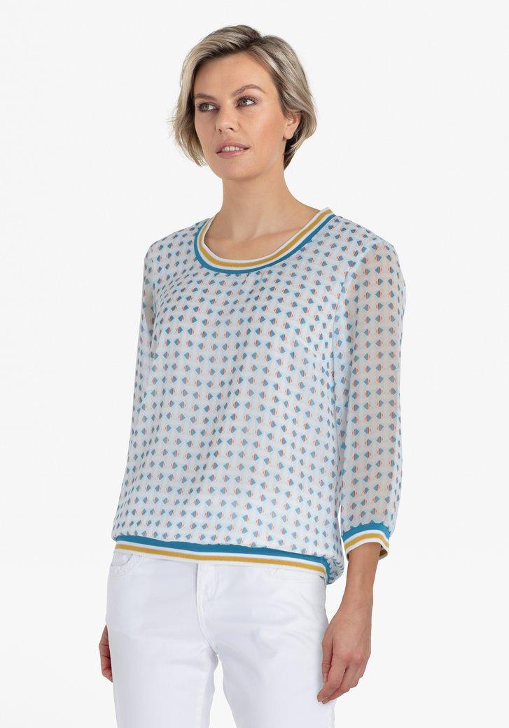 Witte blouse met blauwe print