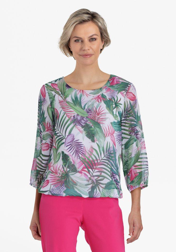 Witte blouse met botanische print