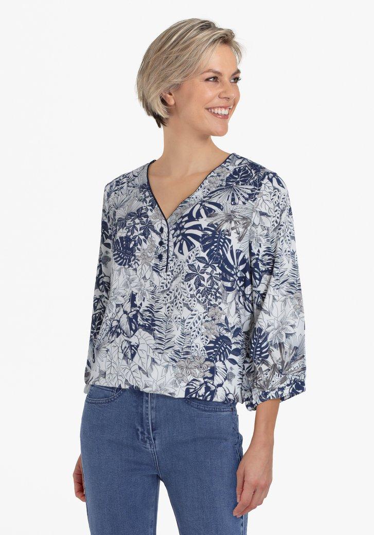 Witte blouse met navy bladerprint