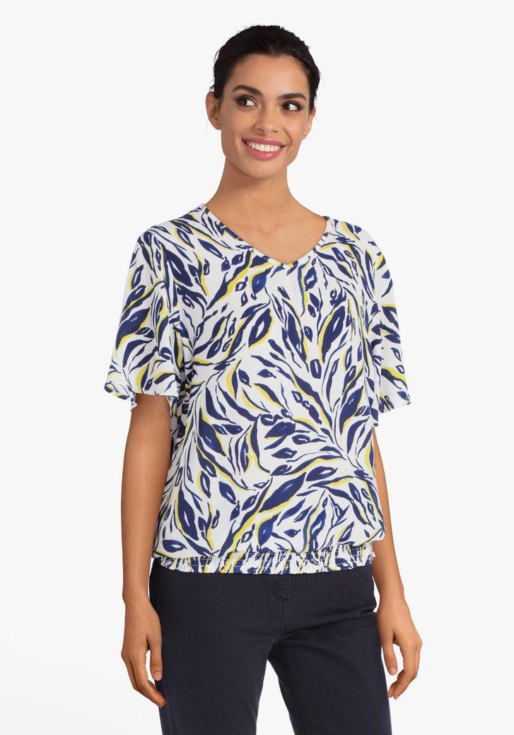 Witte blouse met navy-gele print