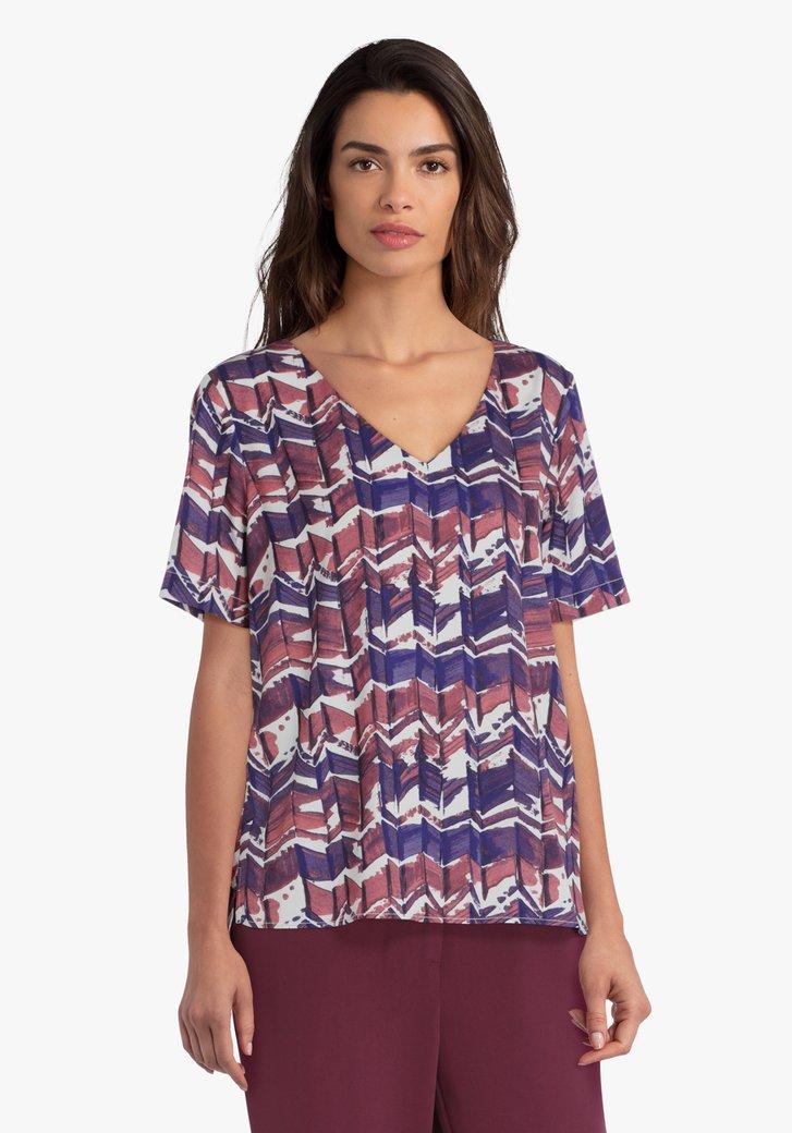 Witte blouse met paars-oudroze print