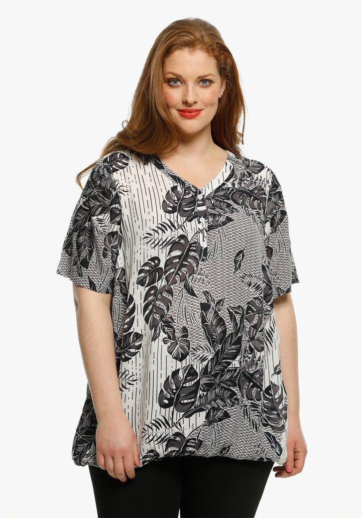 Witte blouse met tropische navy print
