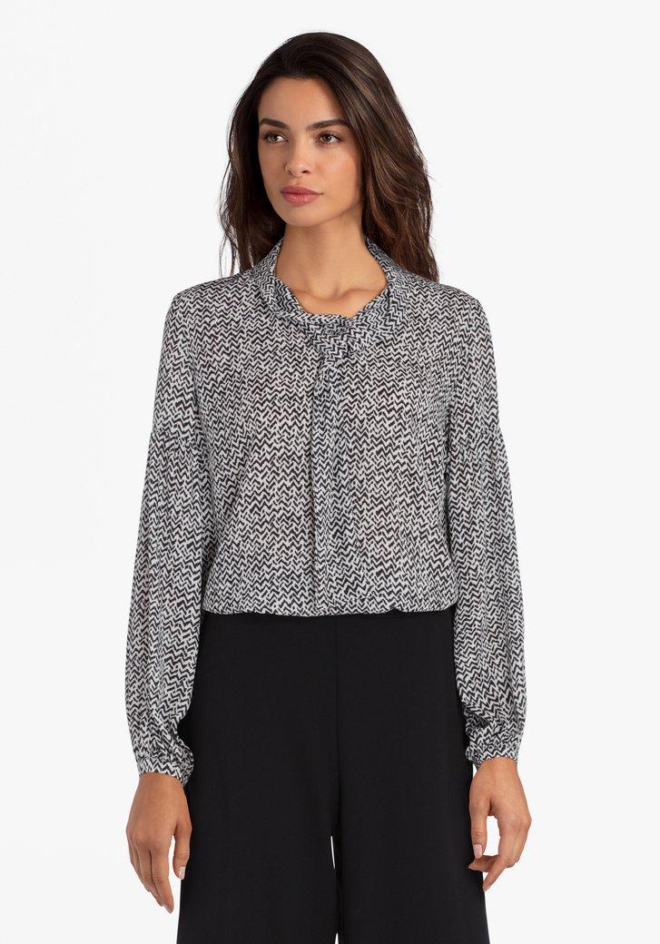 Witte blouse met zwarte print