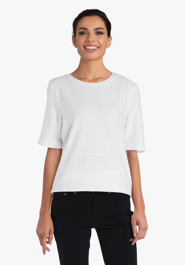Witte geruite T-shirt