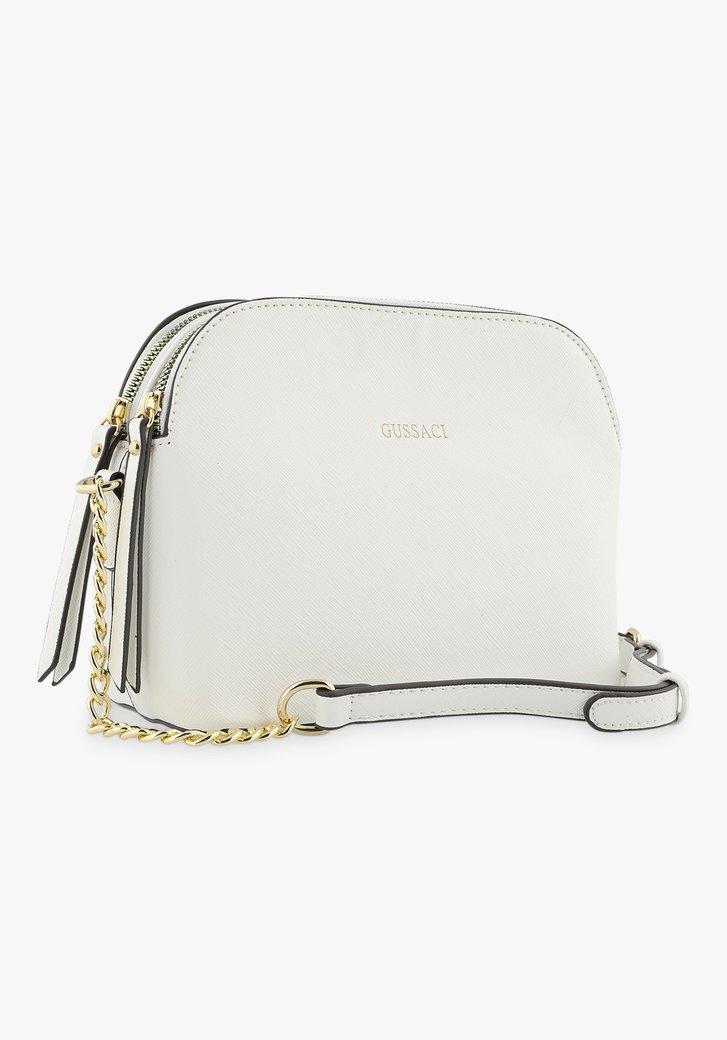 Witte handtas met 3 vakken