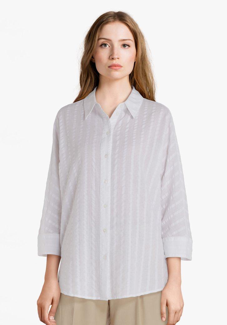 Witte katoenen blouse met streepjes