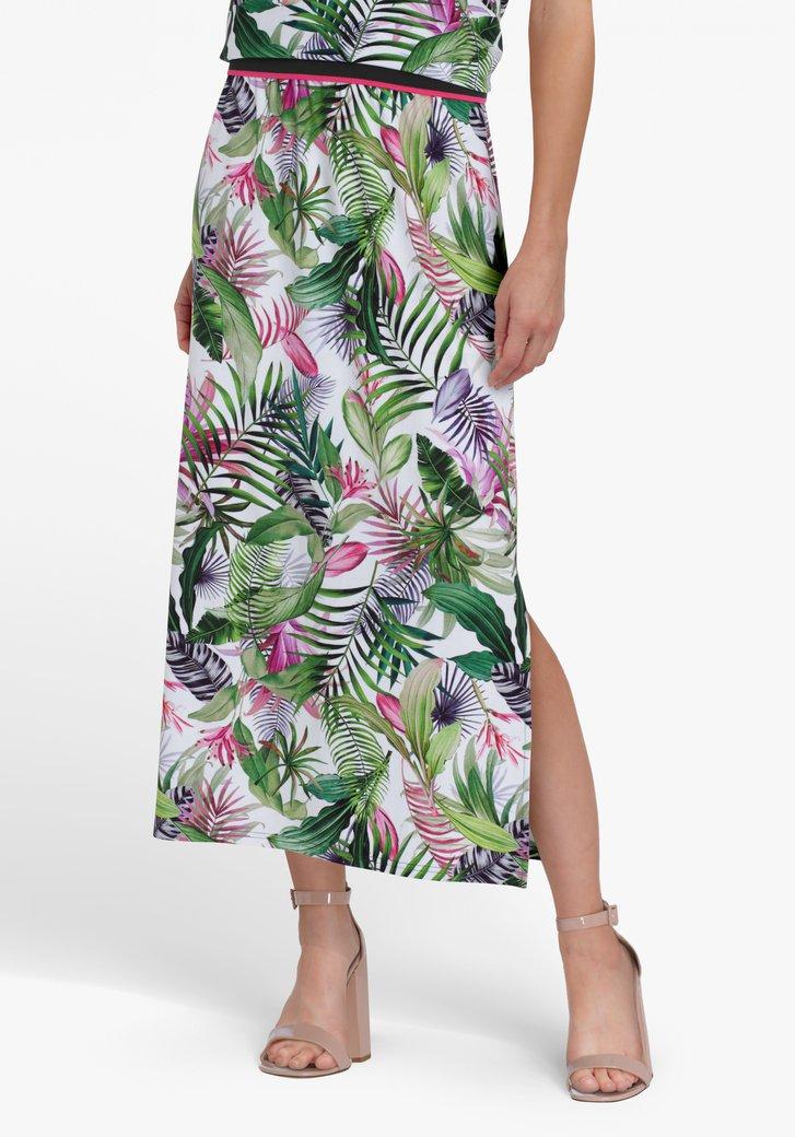 Witte rok met botanische print