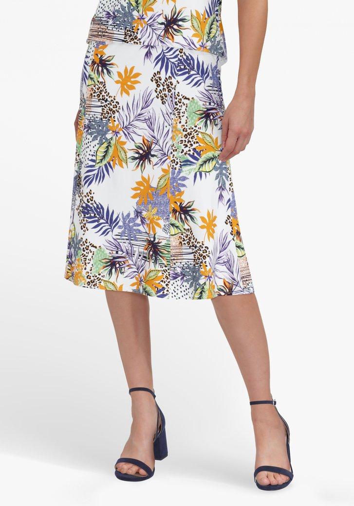 Witte rok met kleurrijke tropische print