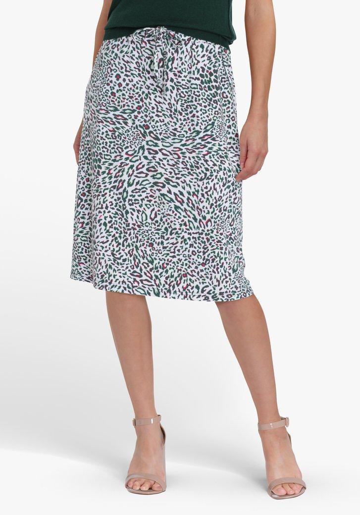 Witte rok met luipaardprint en elastische taille