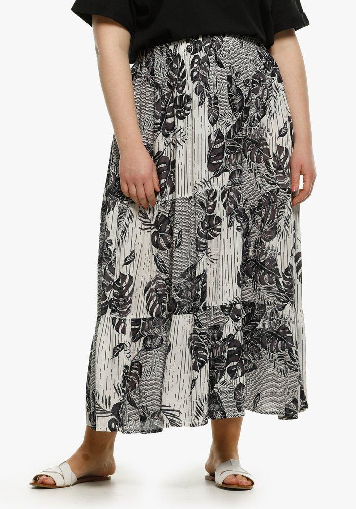 Witte rok met tropische navy print
