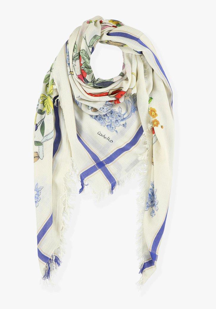Witte sjaal met bloemen en blauw accent