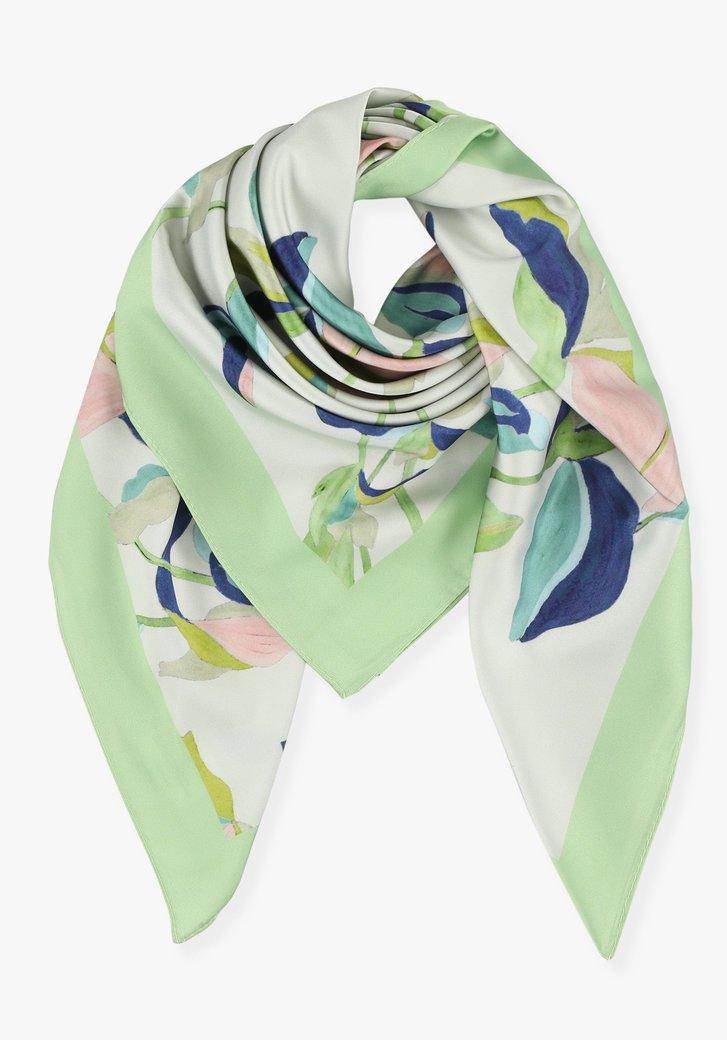 Witte sjaal met gekleurde pastelprint