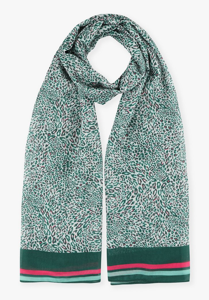 Witte sjaal met groene luipaardprint