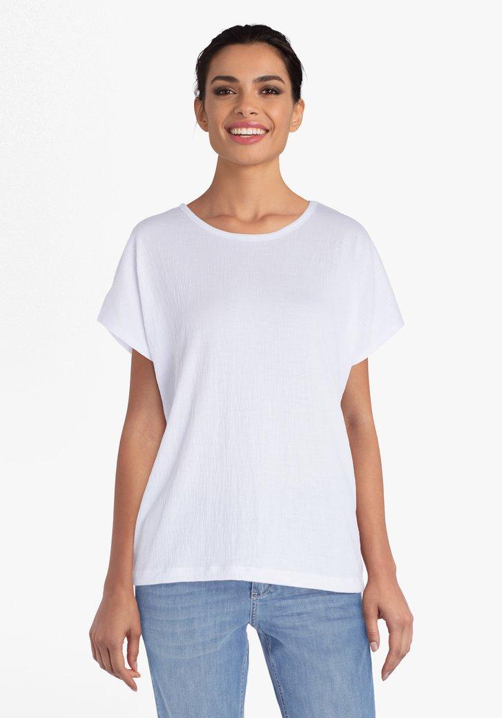 Witte T-shirt in structuurstof