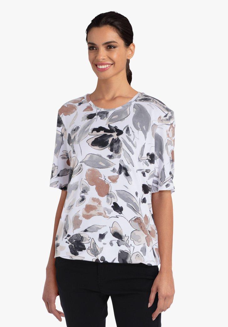 Witte T-shirt met bladerprint