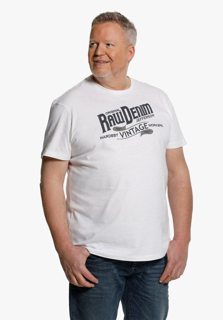 Witte T-shirt met blauw opschrift