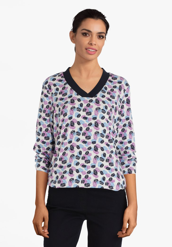 Witte T-shirt met blauw-paarse print