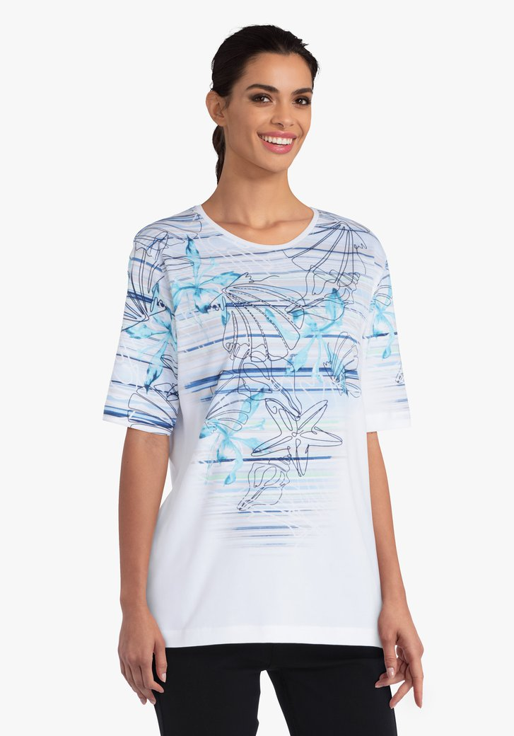 Witte T-shirt met blauwe print