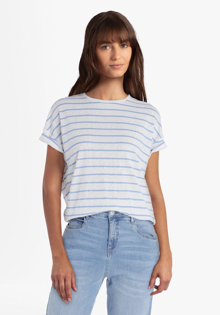 Witte T-shirt met blauwe strepen