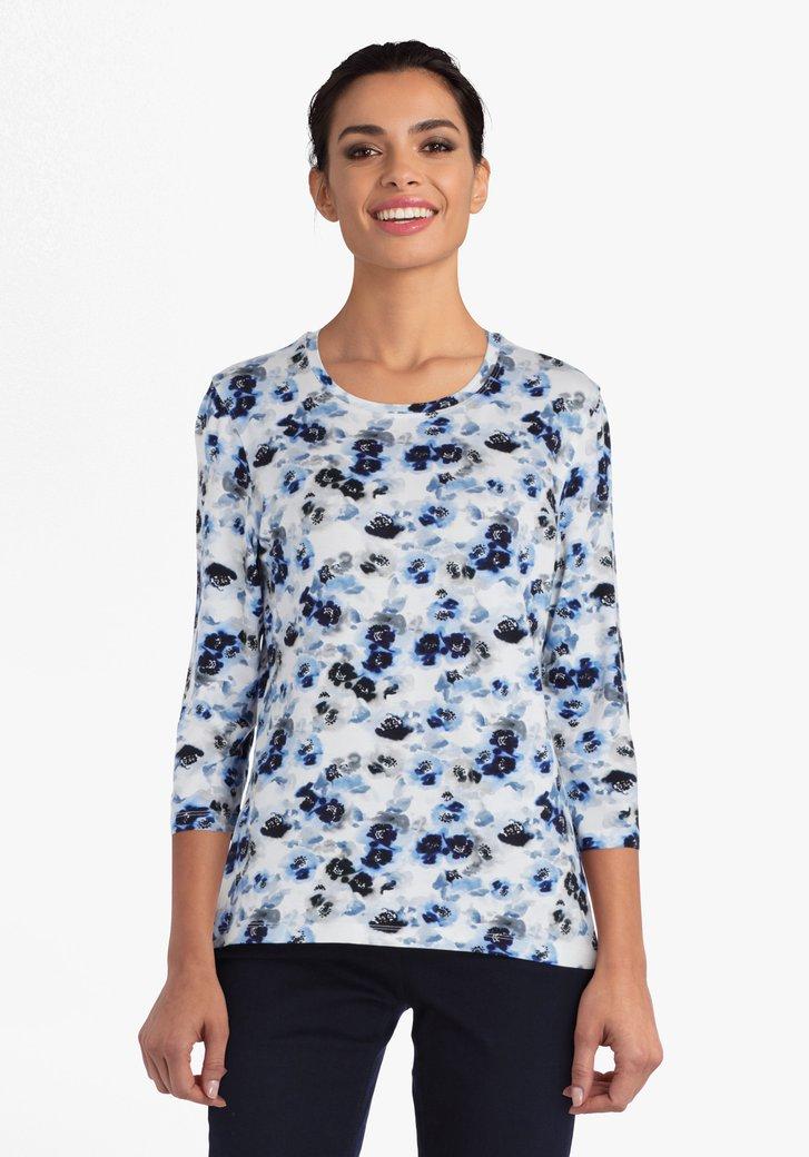 Witte T-shirt met bloemenprint in grijs en blauw