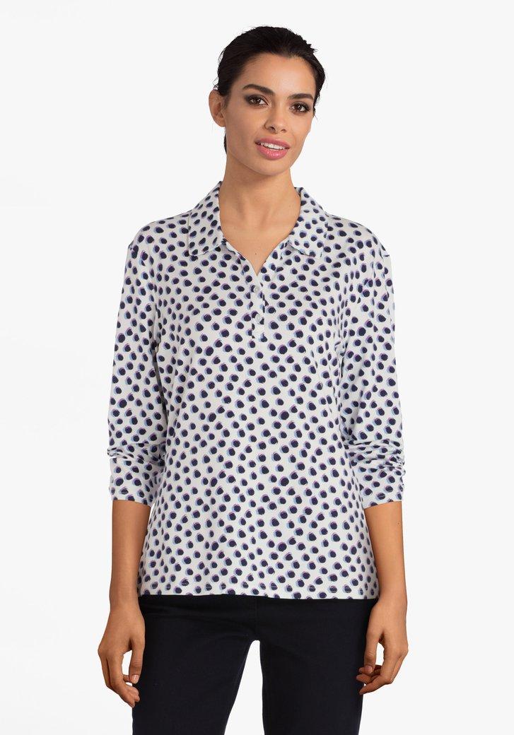 Witte T-shirt met gekleurde bollen en V-hals