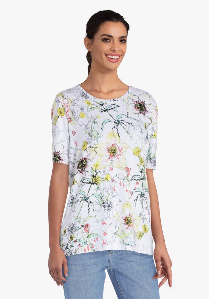 Witte T-shirt met gele bloemenprint