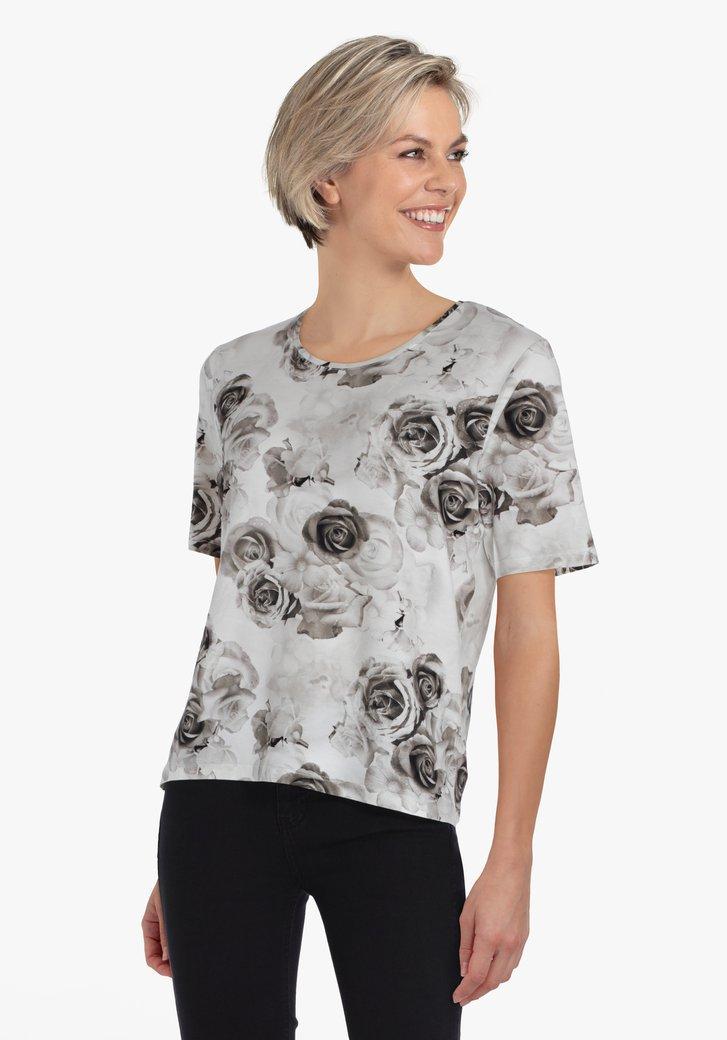 Witte T-shirt met grijze bloemenprint