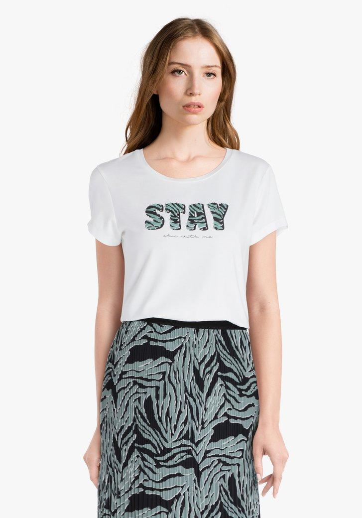 Witte T-shirt met groene letters