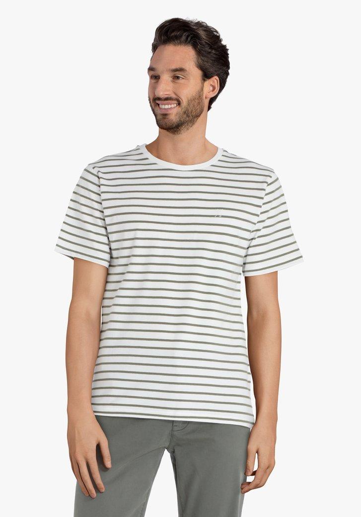 Witte T-shirt met kaki strepen
