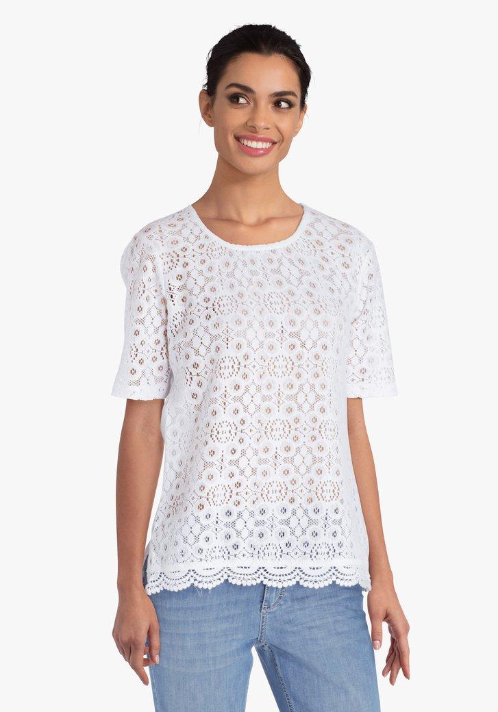 Witte T-shirt met kanten voorkant
