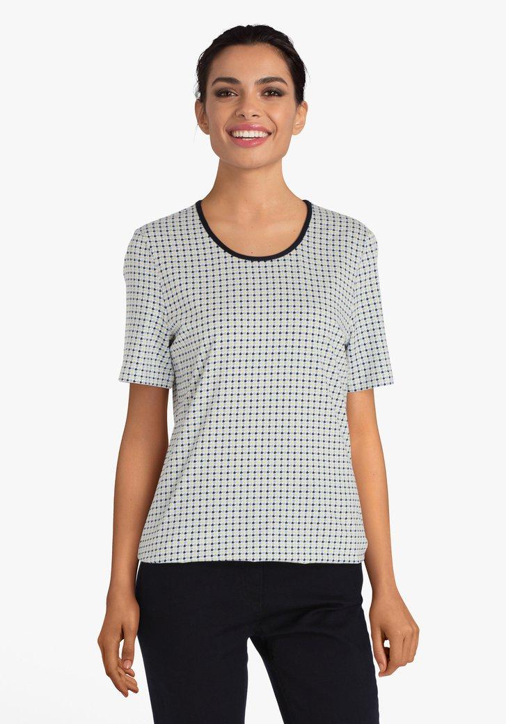 Witte T-shirt met kleurrijk motief