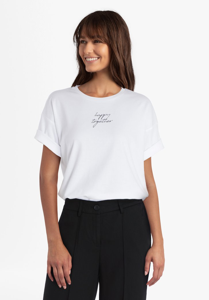 Witte T-shirt met opschrift