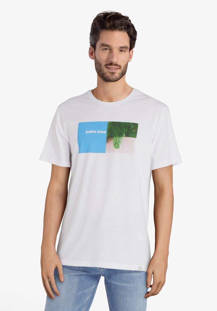 """Witte T-shirt met opschrift """"Palm tree"""""""