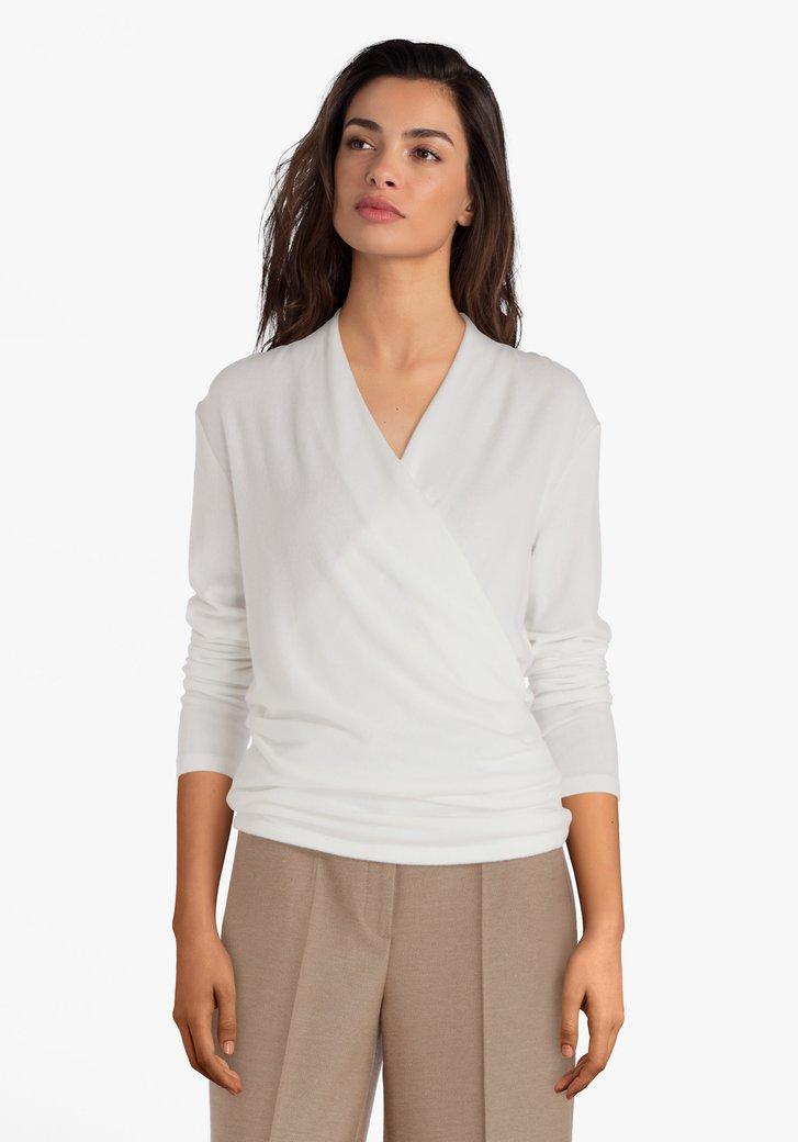 Witte T-shirt met overlap