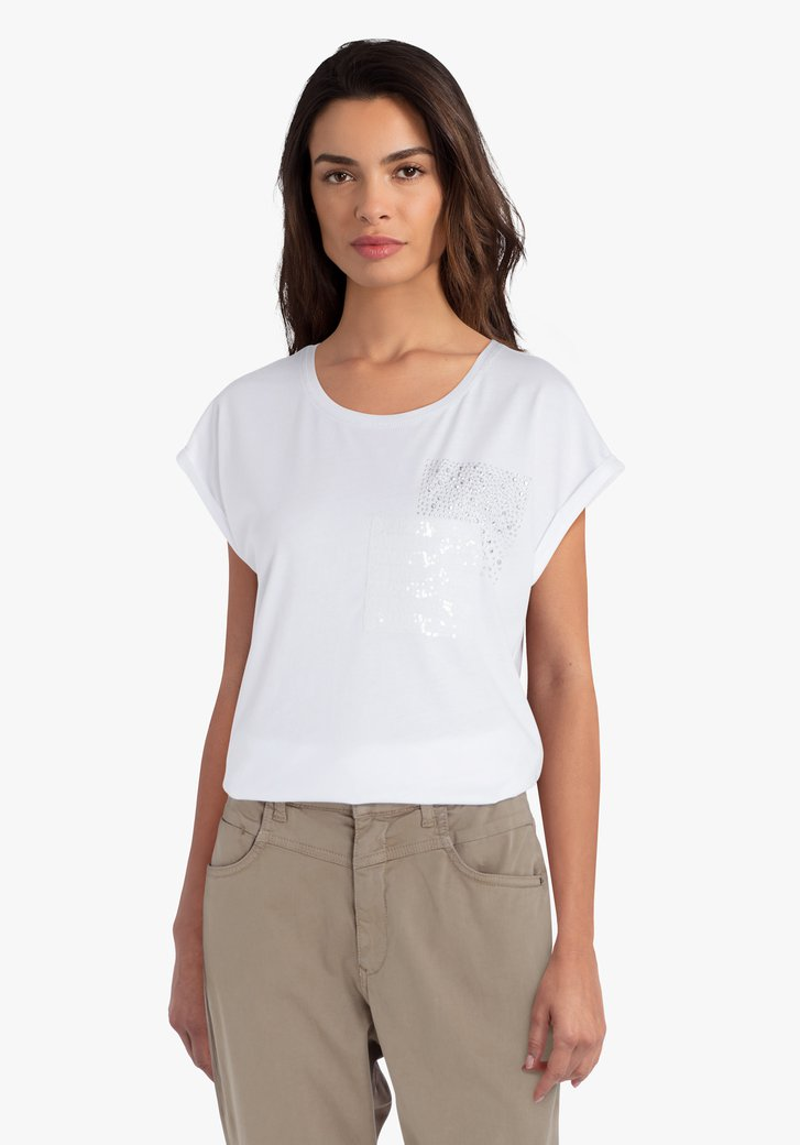Witte T-shirt met pailletten