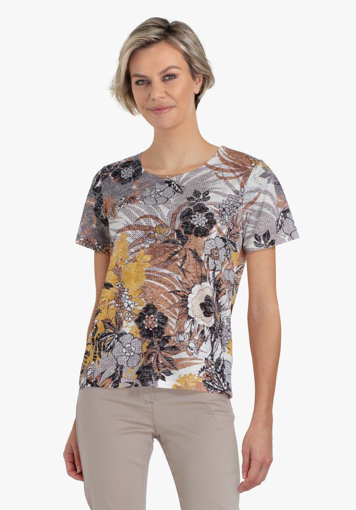 Witte T-shirt met print in bruine tinten