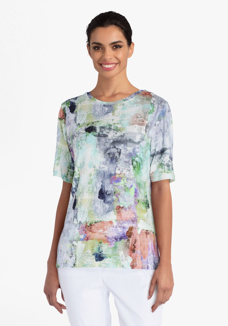 Witte T-shirt met print in diverse kleuren