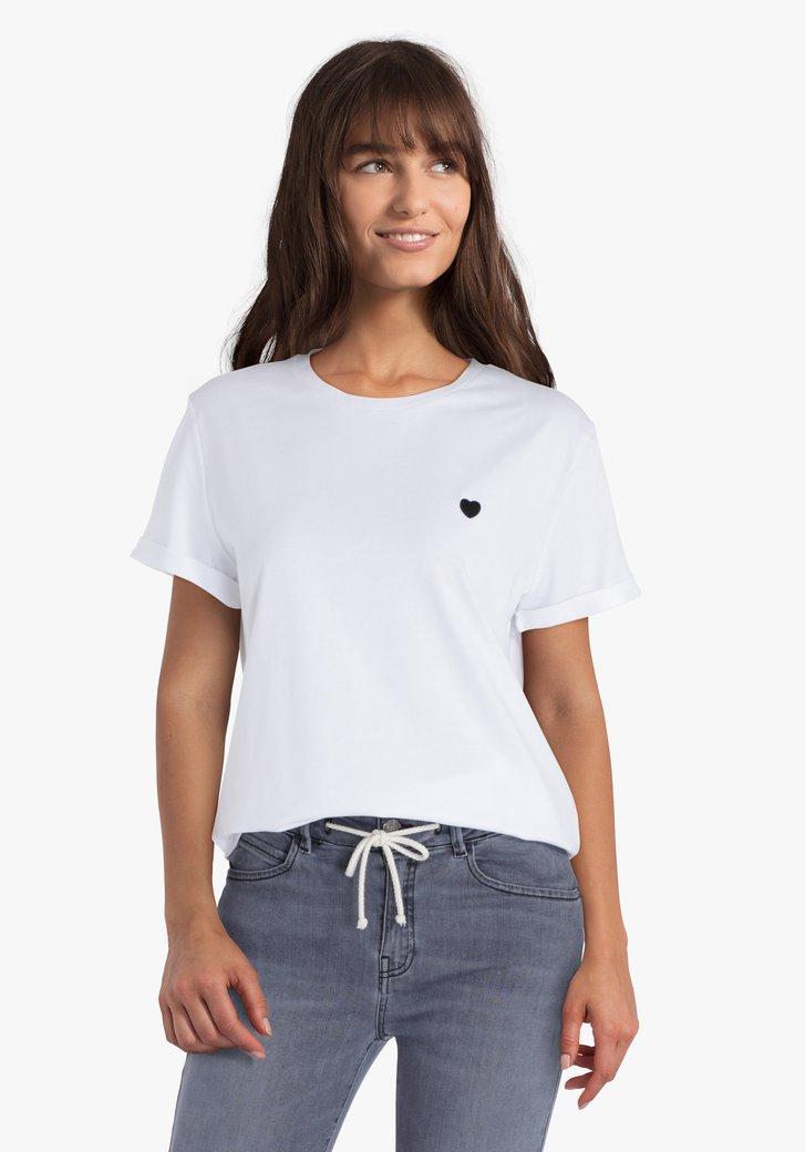 Witte T-shirt met zwart hartje