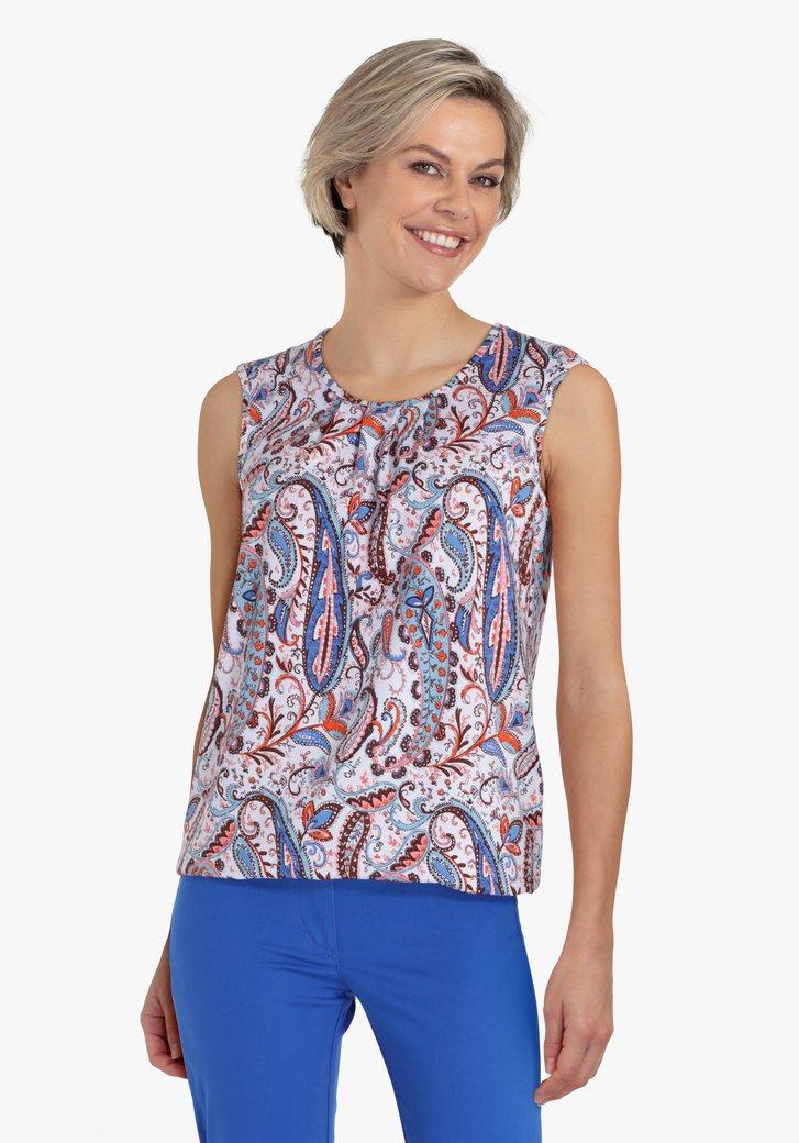 Witte top met blauw-oranje paisley print